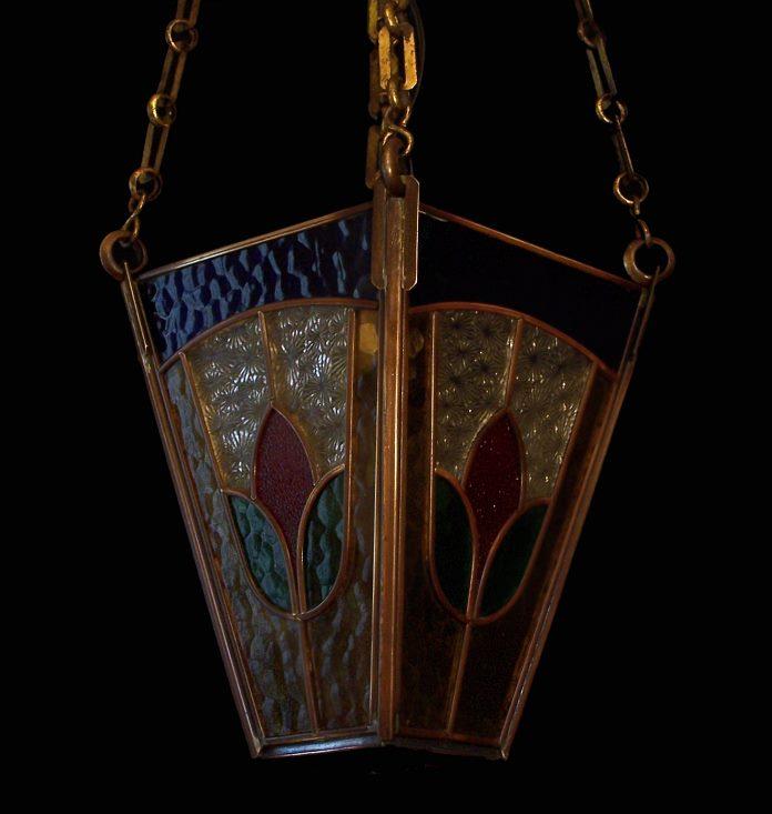 Fab Vintage 1920s Art Nouveau Leaded Glass Lantern