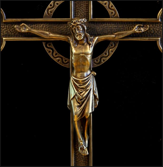 Awesome HUGE Vintage Bronze/Brass WALL CRUCIFIX - Belgium/France ca ...